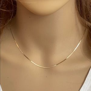 Element Shine Jewelry - 14K Solid Real Gold 1.1 mm Mariner Chain Necklace